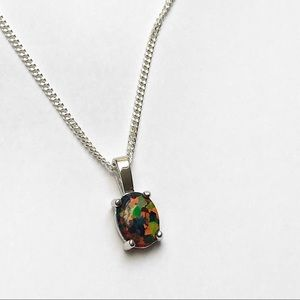 Jewelry - Sterling Silver Black Opal Rainbow Necklace